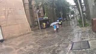 Three Boys Sharing An Umbrella at Universal Studio Singapore Ancient Egypt