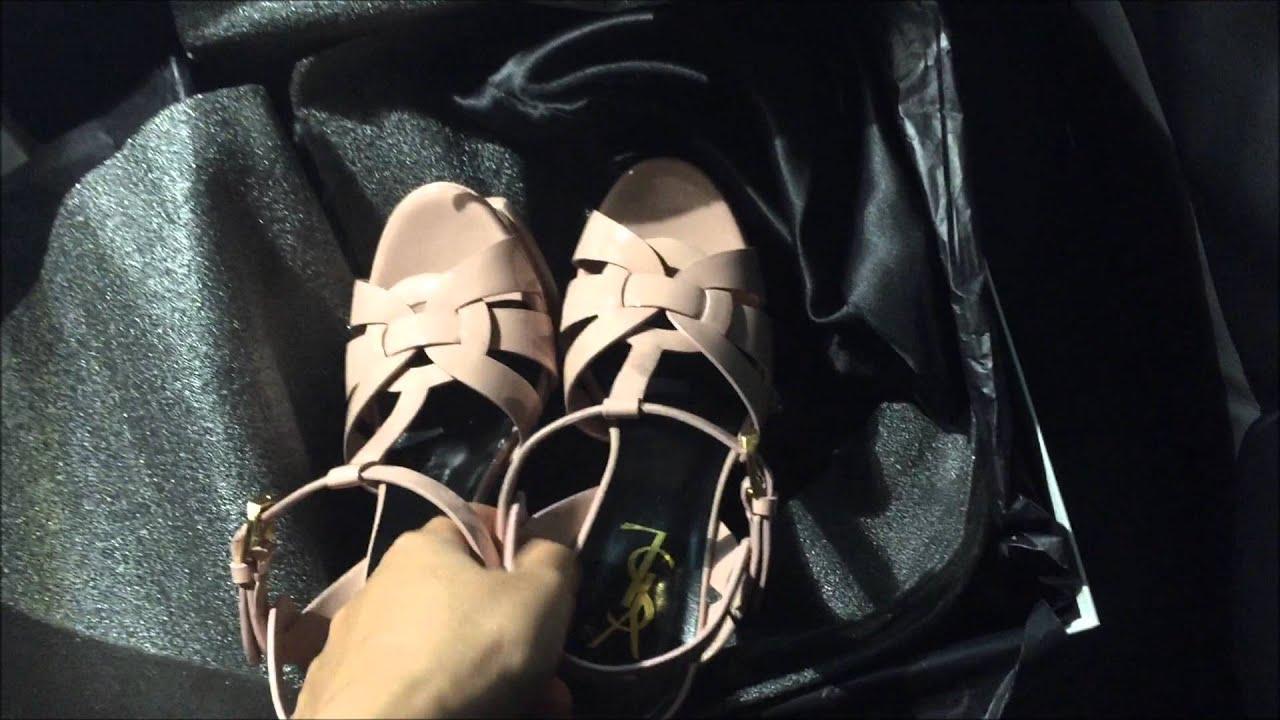 41779907f1ec9 Saint Laurent Tribute Sandal Pale Blush Review - YouTube