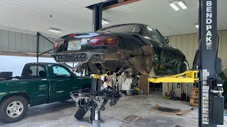 homepage tile video photo for Fixing the very broken LS Miata. subframe ripped in half.