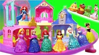 Disney Princess Glitter Glider Castle 8 Magiclip Dolls Flip 'n Switch Castles Frozen Elsa Olaf