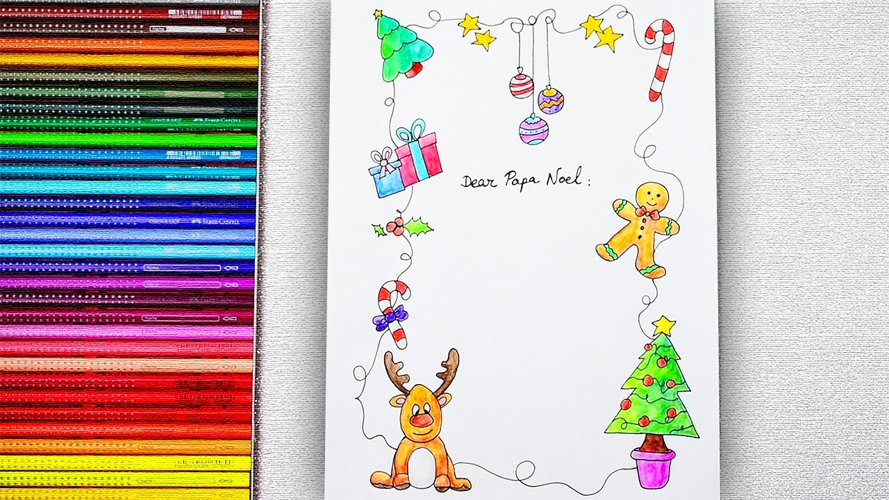 Dibujar Y Colorear Carta Navideña Para Papa Noel How To Draw And