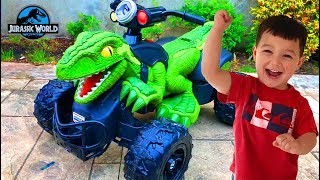 Father & Son surprise unbox Power Wheels Jurassic World Dino Racer 12v ride on toy