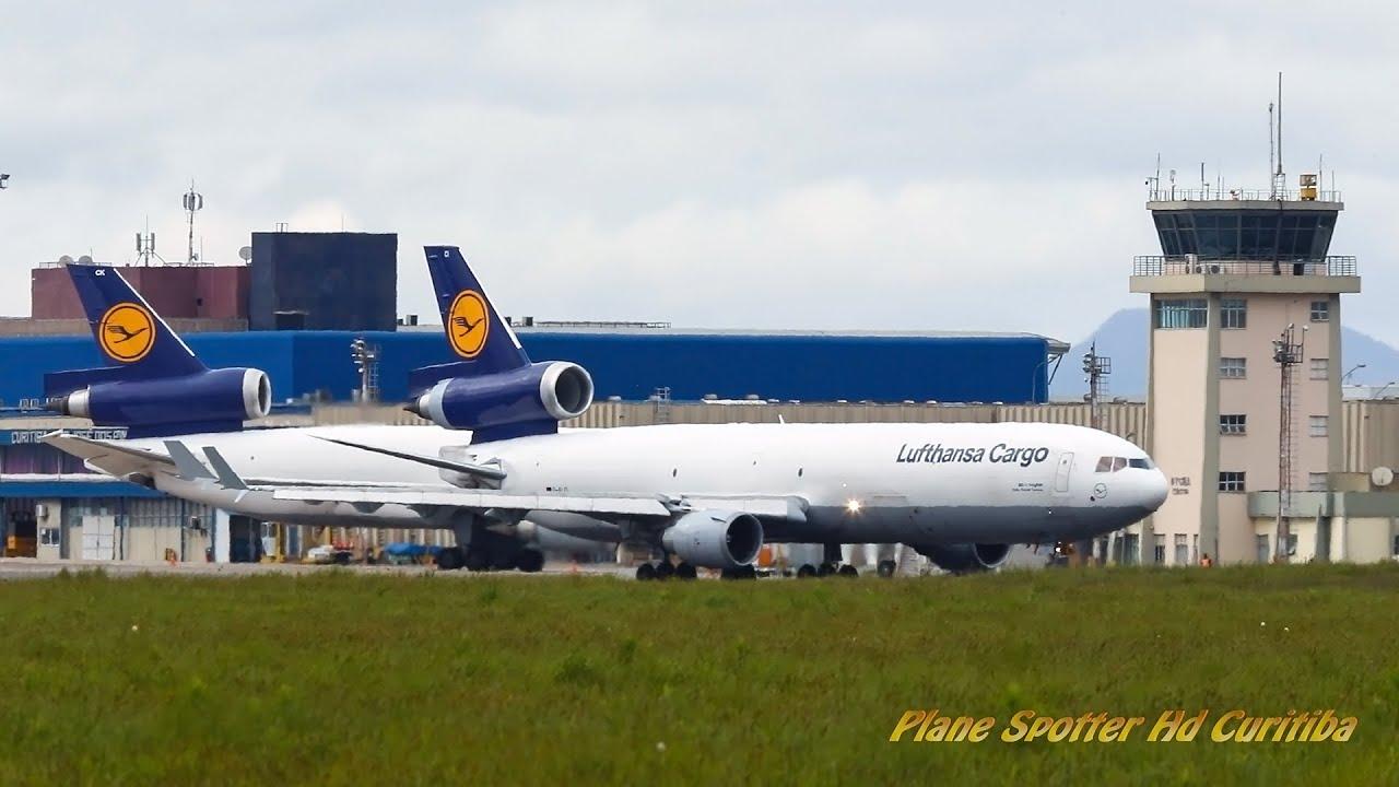 """HISTÓRICO"": 2 MD-11 Lufthansa Cargo em Solo (Old Colors)- Aeroporto Internacional Afonso Pena"