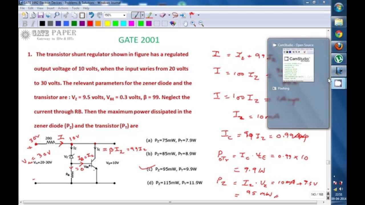 Gate 2001 Ece Maximum Power Dissipation Across Zener Diode And Voltage Regulator Equivalent Circuit Analogcircuit Basiccircuit Transistor Shunt Youtube