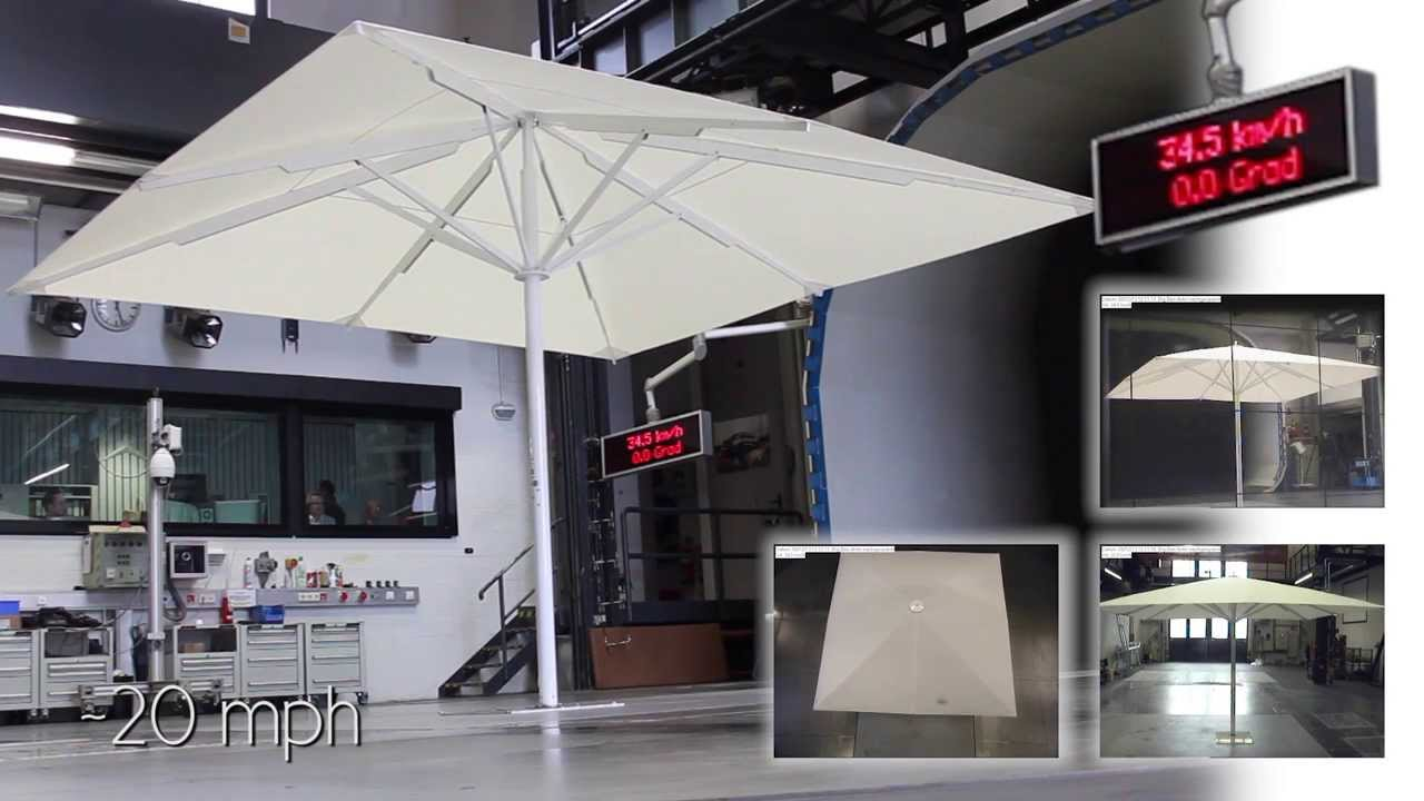 CARAVITA Testlab - Sonnenschirm Big Ben 2 4x4m im Windkanal | Sunshade Big Ben 2 4x4m in wind tunnel - YouTube