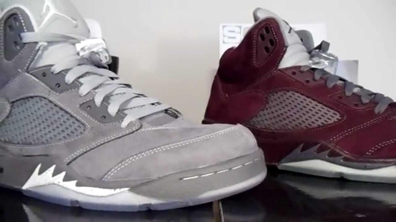 d4bb177a773b45 Jordan 5 Burgundy vs. Jordan 5 Wolf Grey