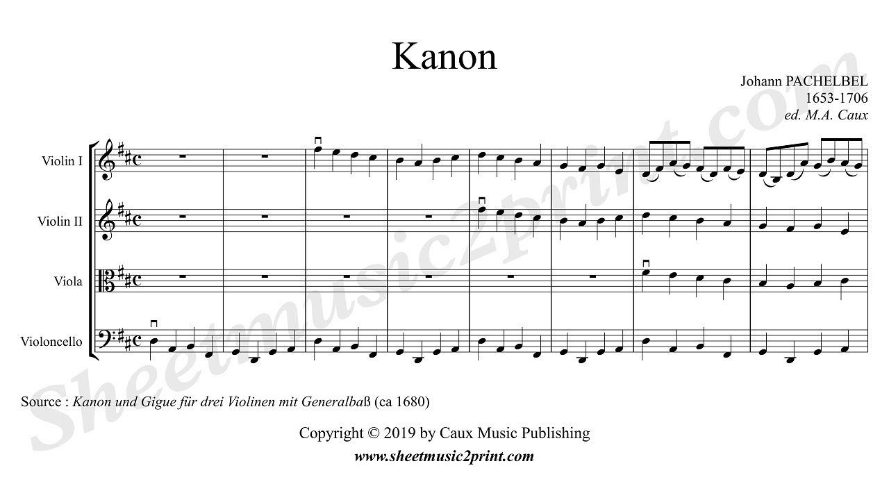 Pachelbel Canon String Quartet Sheetmusic2printcom