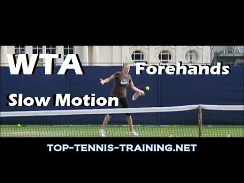 Tennis Forehand Slow Motion   WTA Forehands (Azarenka, Ivanovic and More)