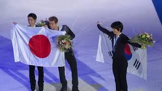 20181104 Grand Prix Helsinki Men's Victory Ceremony 2/2 (Yuzuru Hanyu, Michal Brezina, Jun-hwan Cha)
