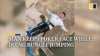 Chinese man calmly bungee jumps without emotion