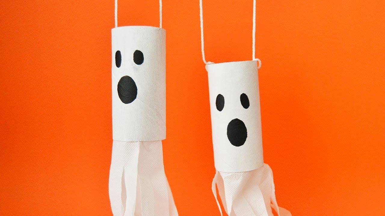 Hanging ghost halloween handicrafts for kids youtube - Manualidades halloween faciles para ninos ...