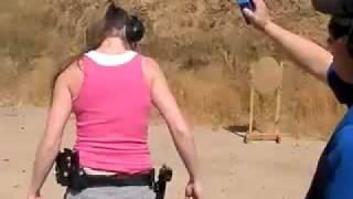 cute girl shooting ipsc