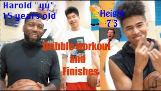 """*New* Dribble Workout and Finishes  w/ 15 year old Top Ranked  Harold """"yu"""" and Kristopher London"""