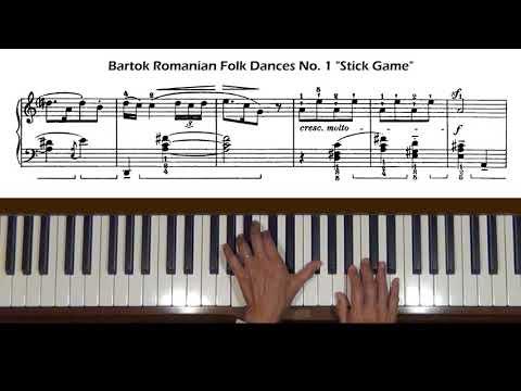"""Bartok Romanian Folk Dances No. 1 """"Stick Game"""" Piano Tutorial"""
