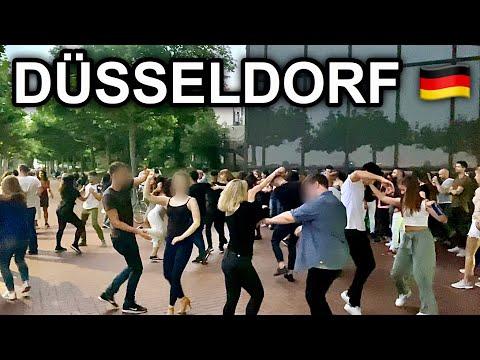 [4K] Friday Night Walk in Düsseldorf Germany - Public Dance at the Rhine River