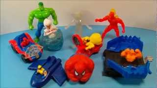 McDONALD'S 1996 MARVEL SUPER HEROES SET OF 9 HAPPY MEAL KID'S TOY'S VIDEO REVIEW