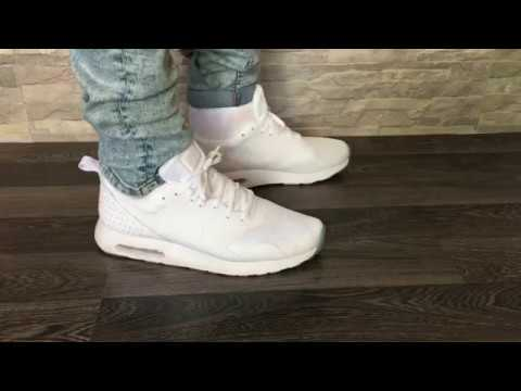 best service f3877 9bb8a Nike Air Max Tavas Triple White  Close-up Look  On Feet Review