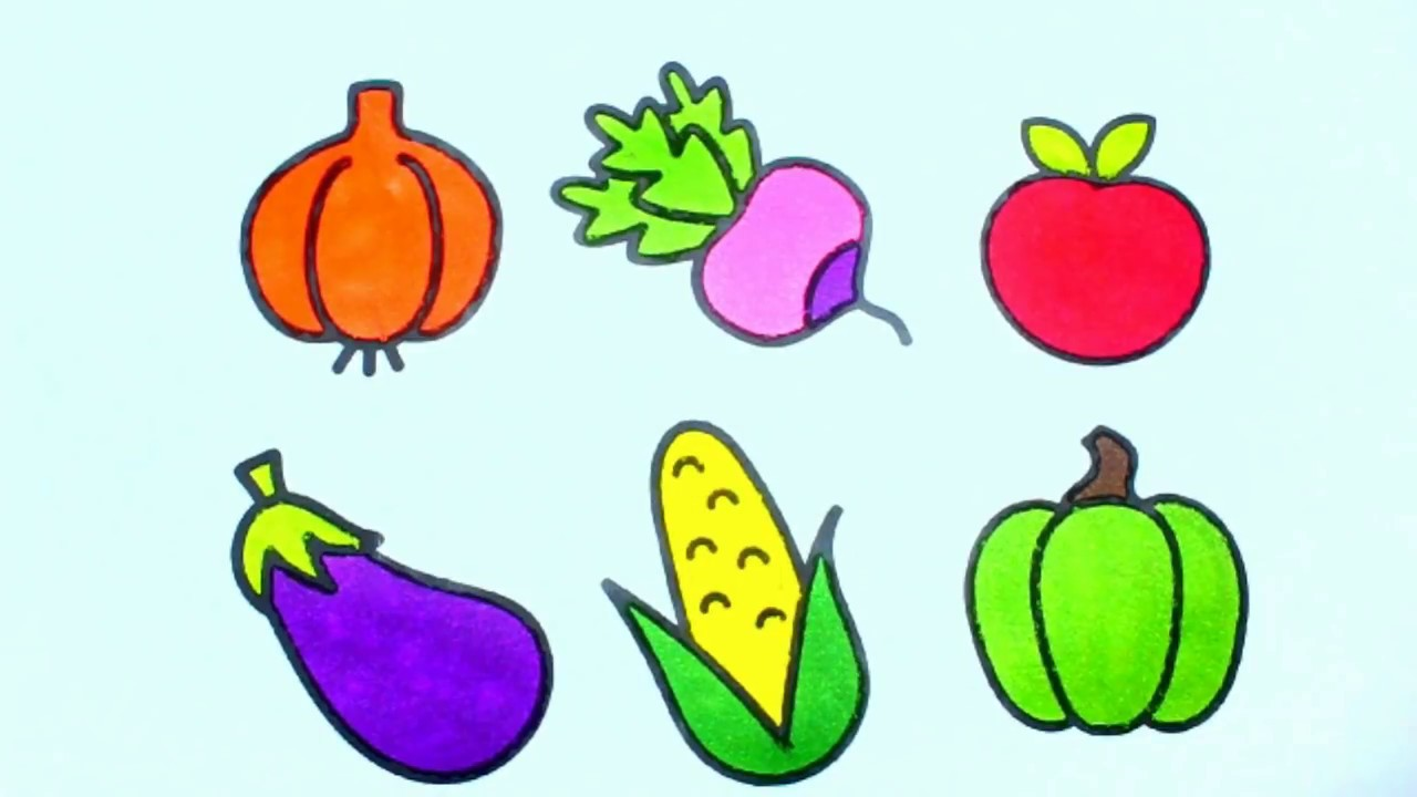 How To Draw Fruits and Vegetables for Children Coloring ...