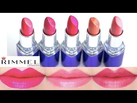 Rimmel Moisture Renew Lipstick Swatches on Lips 6 colors - YouTube