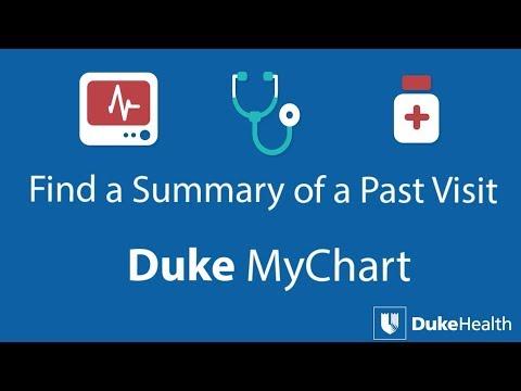 View past visit summaries with duke mychart youtube