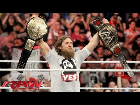 Daniel Bryan celebrates his WWE World Heavyweight Championship victory: Raw, April 7, 2014