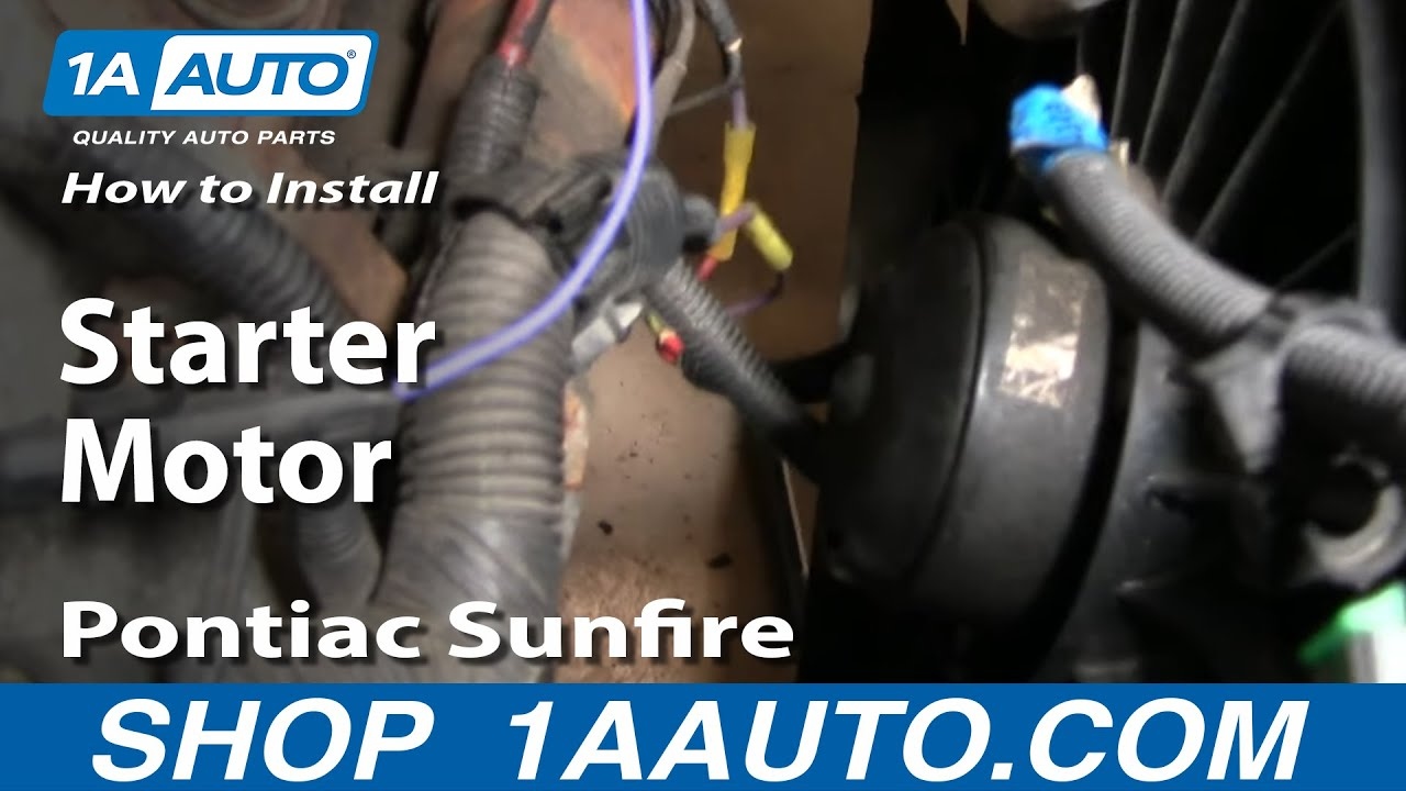 how to install replace change starter motor chevy cavalier pontiac sunfire 95 05 1aauto com youtube [ 1920 x 1080 Pixel ]
