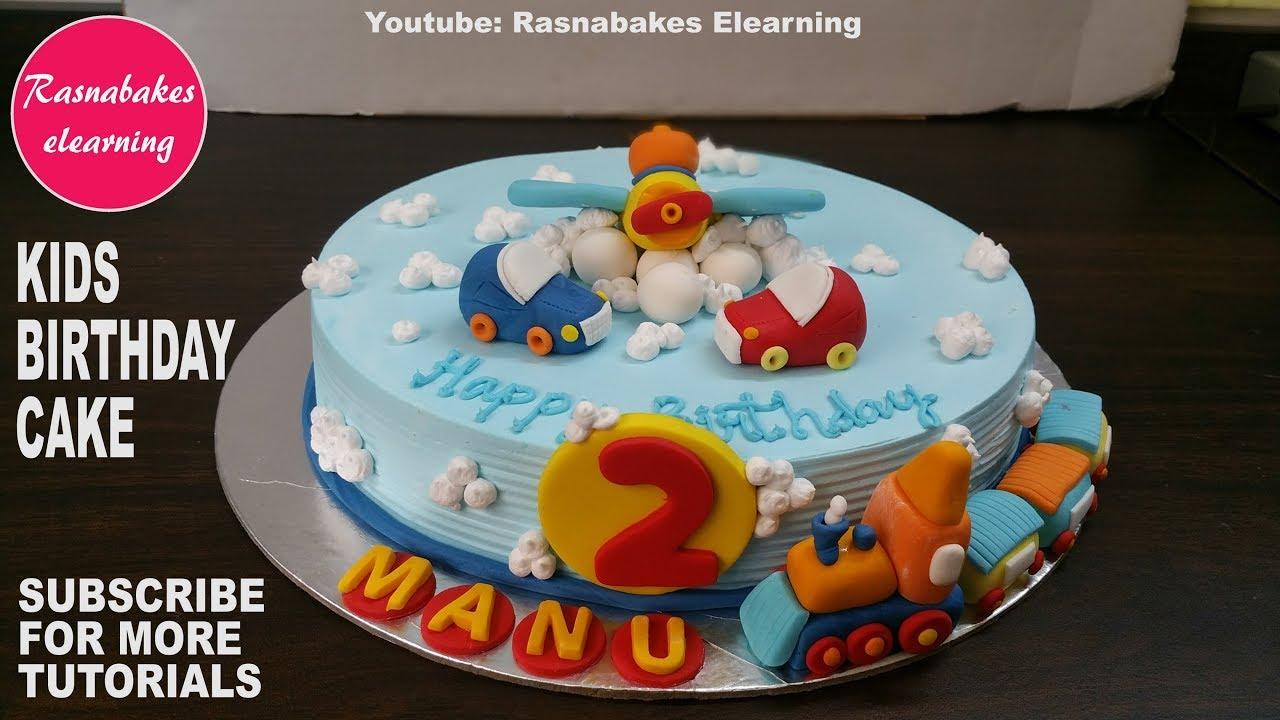 Car Aeroplane Train Whipped Cream Birthday Cake Design For Kidshomemade Fondant Decorating