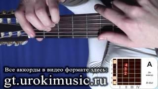 vse.urokimusic.ru Аккорд A. Ля мажор. A-dur. Позиция 1. Как играть на гитаре. Аккорды. Баррэ. Уроки