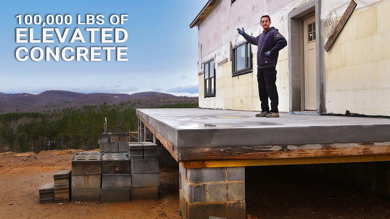 pouring a 50 ton elevated concrete porch slab