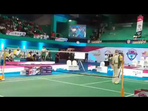 Mammookka Playing Badminton