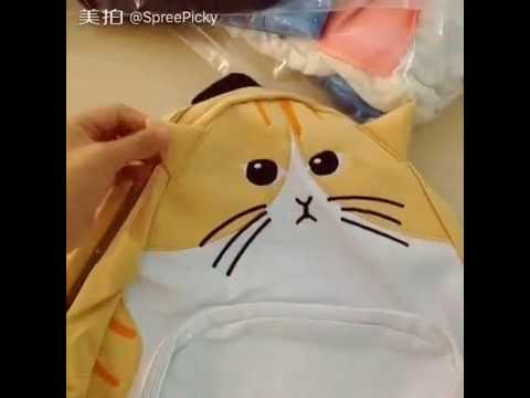 036e1d2ce7 4 Colors Cute Kawaii Cat Canvas Backpack SP166888 - YouTube
