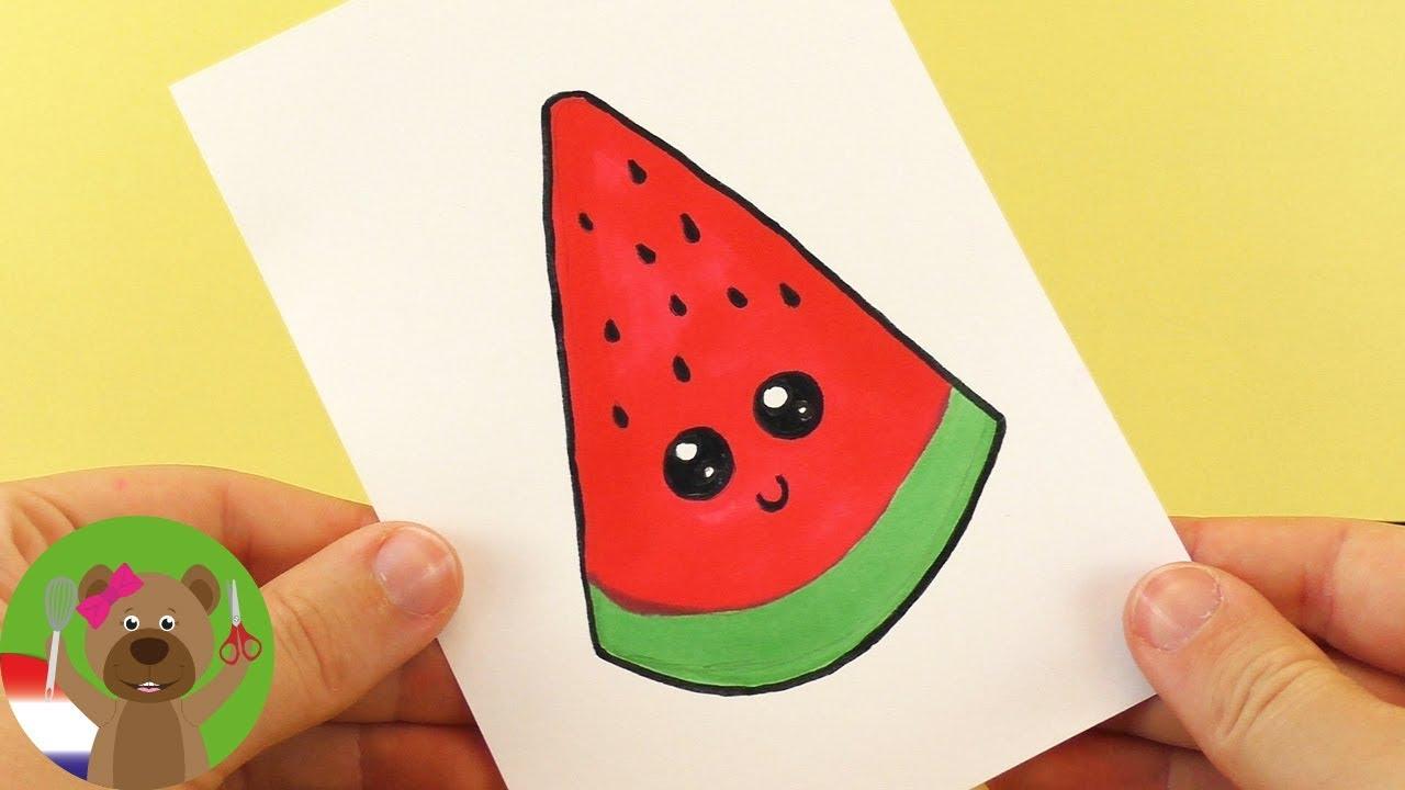 Watermeloen Diy Kawaii Tekenen Schattige Watermeloen Zelf Maken