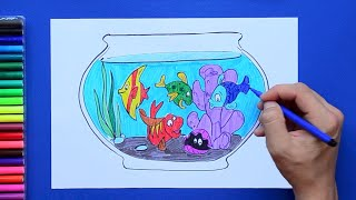 How to draw and color an Aquarium