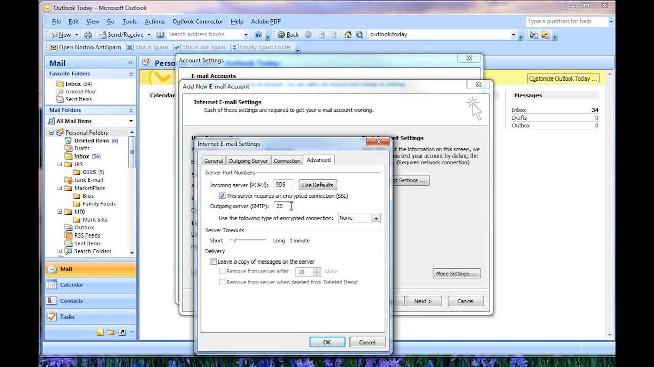 Setting up Outlook as E-mail Client to Access Google Apps or gmail ...