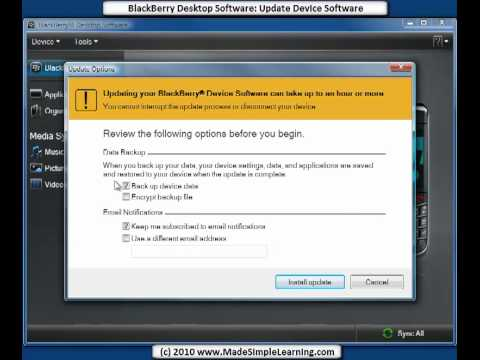 updating blackberry handheld software