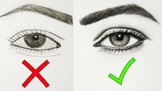 نصائح في تعليم الرسم - الطريقة الصحيحة لرسم العين خطوة بخطوة للمبتدئين