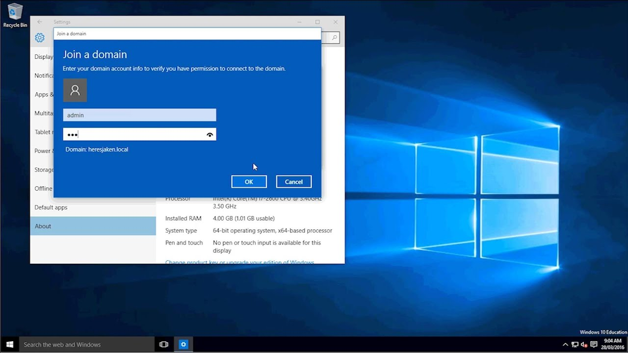 how to join a server 2012 domain on windows 10
