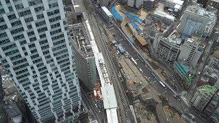 JR渋谷駅埼京線ホーム移設工事の建設状況(2020年3月15日)