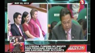 CJ Renato Corona, iginiit sa impeachment court na wala siyang ginagawang masama
