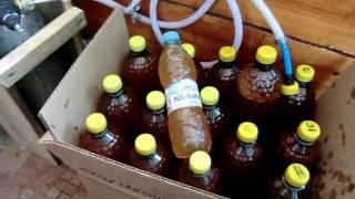 Розлив пива затёртого  мешалкой с помощью углекислоты