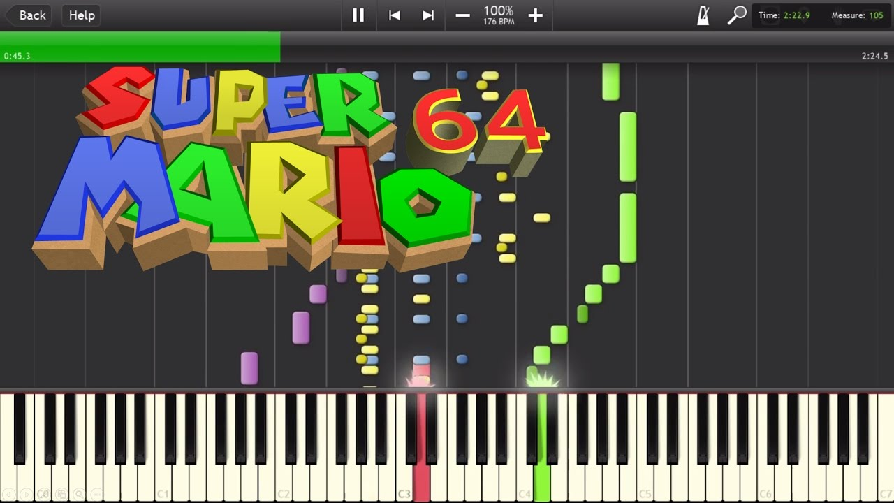 Super Mario 64 - Slide Theme - Synthesia/MIDI Transcription + MIDI download!