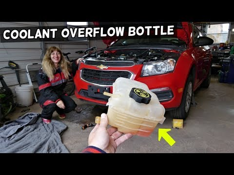CHEVROLET CRUZE COOLANT OVERFLOW BOTTLE TANK REPLACEMENT REMOVAL