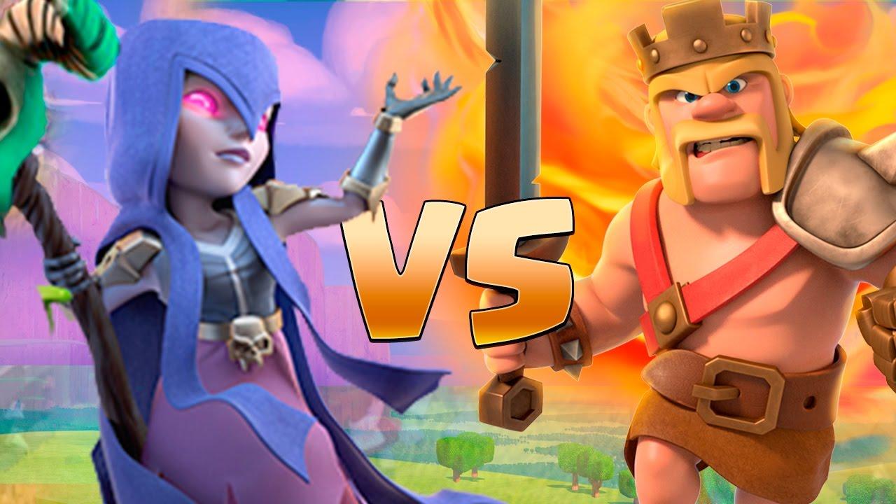 rei barbaro vs bruxa apelona clash of clans youtube