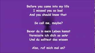 [FULL HD] Carly Rae Jepsen - Call Me Maybe ÜBERSETZUNG mit Songtext! | TRANSLATION with Lyrics!
