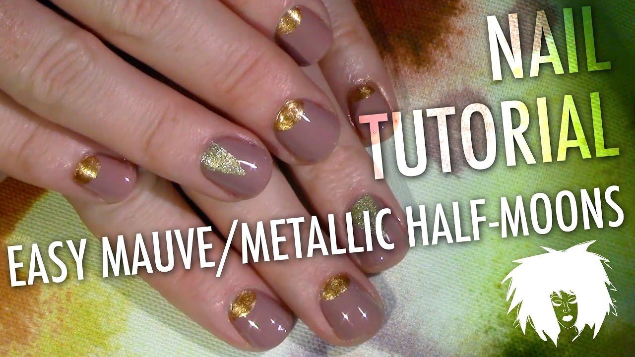 Easy Mauve Metallic Half Moons Nail Tutorial For Short Nails