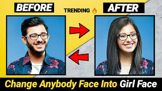 Make Any Body Face Female Version @CarryMinati | Male Celebrities Female Version Viral Photo Editing screenshot 5