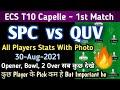 SPC vs QUV Dream11 Team, Spc vs Quv Dream11 Prediction | Spc vs Quv Dream11| Ecs Capelle T10 Match