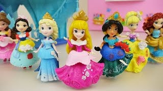 Disney Princess CHANGE Clothes toys, Frozen Elsa and baby Doll