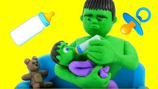 HULK BABY SITTER  Frozen Elsa  Superhero Babies Play Doh Cartoons For Kids