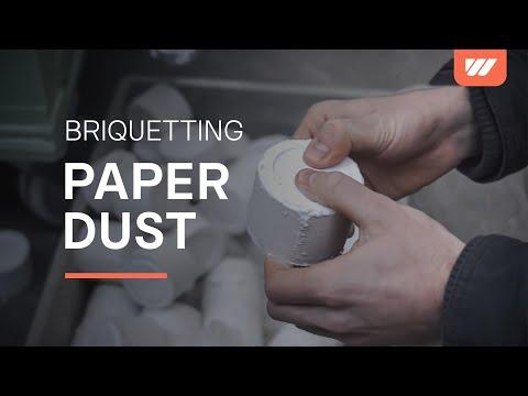 WEIMA C 170 briquette press compacts paper dust